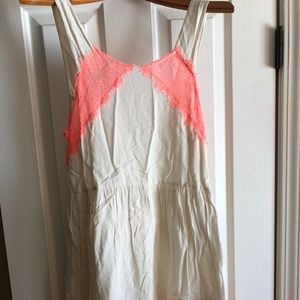 White and neon pink Free People mini dress!